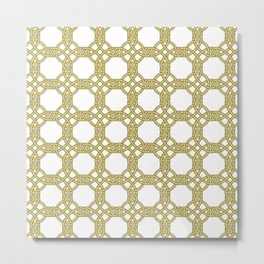 Gold & White Knotted Design Metal Print