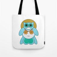 tina crespo Tote Bags featuring Tina Tanuki by Sonya Saturday