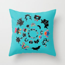 circle of Rorschach test Ink blots ! Throw Pillow