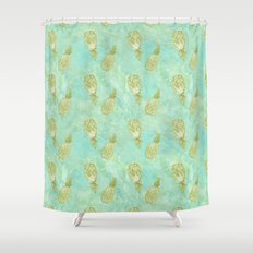 Tropical Watercolor Mint Gold Aqua Pineapples Shower Curtain