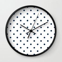 Navy Blue & White Polka Dots Wall Clock