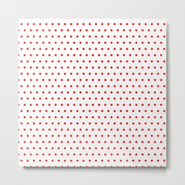 Polka / Dots - White / Red - Small Metal Print