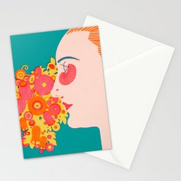 Vintage German Woman with Flowers  Stationery Cards