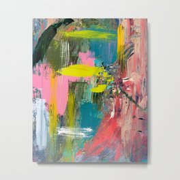 Collision - a bright abstract with pinks, greens, blues, and yellow Metal Print