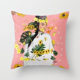 yellow mellow Throw Pillow