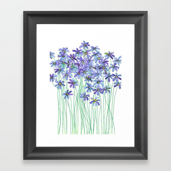 Purple Daisies in Watercolor & Colored Pencil Framed Art Print