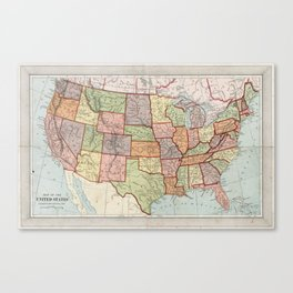 Vintage Map of The United States (1887) Canvas Print
