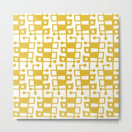 Mid Century Modern Abstract 213 Mustard Yellow Metal Print