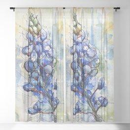 Spring Watercolor Texas Bluebonnet Flowers Sheer Curtain