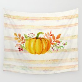Pumpkin in Watercolor with Striped Background Wall Tapestry