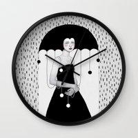 huebucket Wall Clocks featuring Rainy Minta by Sofia Bonati