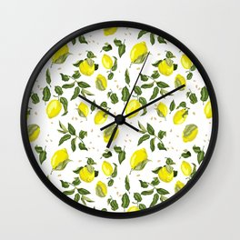 Lemon Branches with Fruits Wall Clock