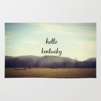 kentucky Area & Throw Rugs featuring Hello Kentucky by KimberosePhotography