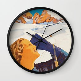 Vintage Dolomites Mountains Italy Travel Poster Wall Clock