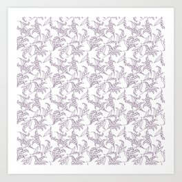 Mauve Vintage-Style Lily-of-the-Valley Pattern Art Print