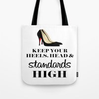 heels Tote Bags featuring Heels & Standards by LuxuryLivingNYC