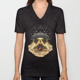 Alien Abduction Anunnaki Space Egyptian Pyramids Unisex V-Neck