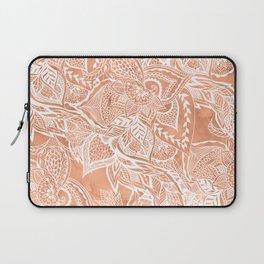 Modern tan copper terracotta watercolor floral white boho hand drawn pattern Laptop Sleeve