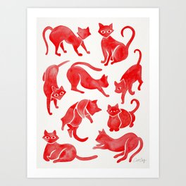 Cat Positions – Red Palette Art Print