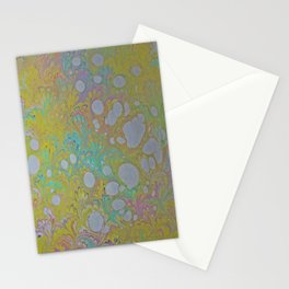 Easter Peacock Water Marbling Stationery Cards
