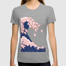 Pink Pigs Waves in White T-shirt