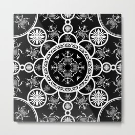 Scarab tile line pattern with black Background Metal Print