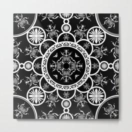 Scarab tile line pattern with black Background Metal Print