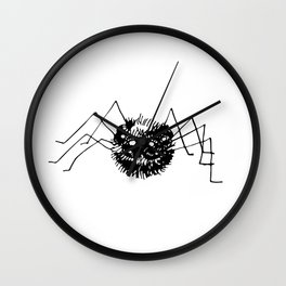 Doodle  drawing of black spider. Halloween design. Wall Clock