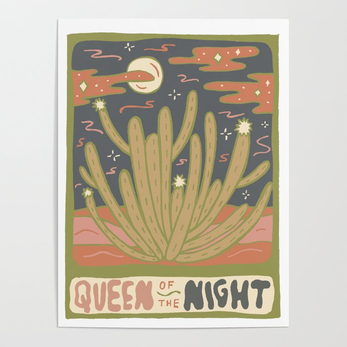 Cactus Tarot Cards- Queen of the Night Poster