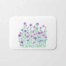 Cheerful spring flowers watercolor Bath Mat
