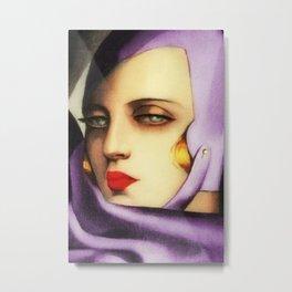 Classical Art Deco Masterpiece 'Self-Portrait' by Tamara de Lempicka Metal Print