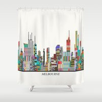 melbourne Shower Curtains featuring Melbourne by bri.buckley