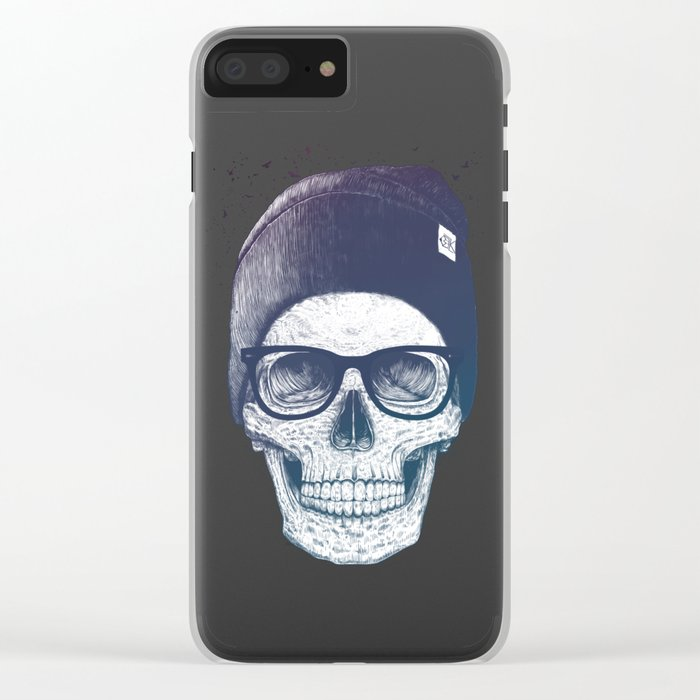 Color skull in a hat Clear iPhone Case