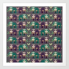 Sloth pattern Art Print