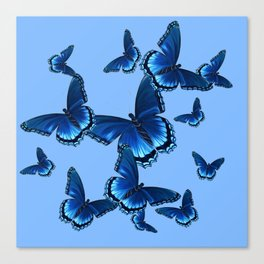 DECORATIVE PATTERNED BLUE on BLUE  BUTTERFLY FLOCK Canvas Print