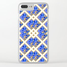 ABSTRACTED BLUE & GOLD PATTERN  CALLA LILIES  DESIGN Clear iPhone Case