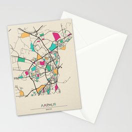 Colorful City Maps: Aarhus, Denmark Stationery Cards