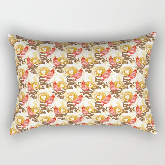 Cardinal Chickadee Pattern Rectangular Pillow