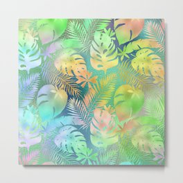 Candy-Colored Iridescent Tropical Leaf Pattern Metal Print