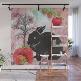 Black Rabbit and Strawberries Wall Mural