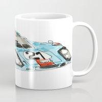 porsche Mugs featuring Porsche 917 by Carlota Atlee