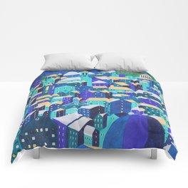 Moonlit Roofs, Corfu Town Comforters
