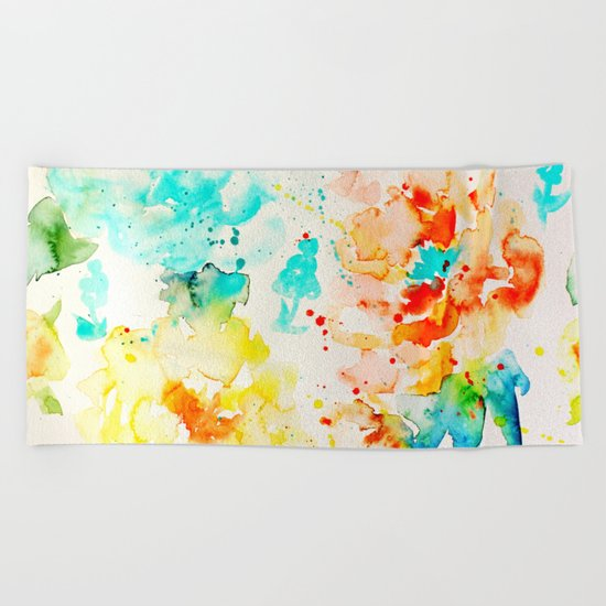 Abstract Flowers 05 Beach Towel