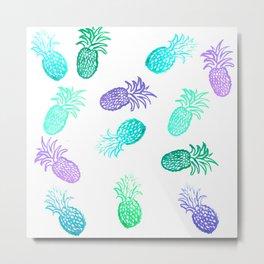Tropical Pineapples - Aqua Metal Print
