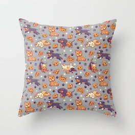 Pupperoni Pizza - Cute Puppy Dogs with Fast Food Throw Pillow