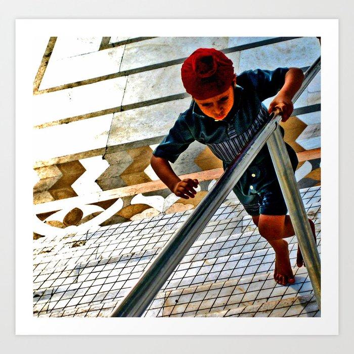 boy running Art Print