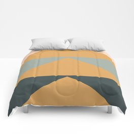Triangles in Blush, Gray, and Honey Comforters