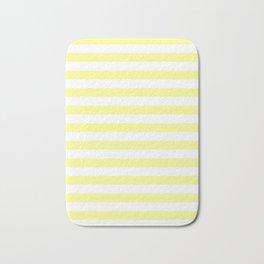 Narrow Horizontal Stripes - White and Pastel Yellow Bath Mat