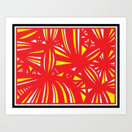 Huckeba Abstract Expression Yellow Red Art Print