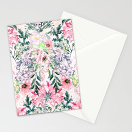 Boho chic watercolor pink floral hand paint Stationery Cards